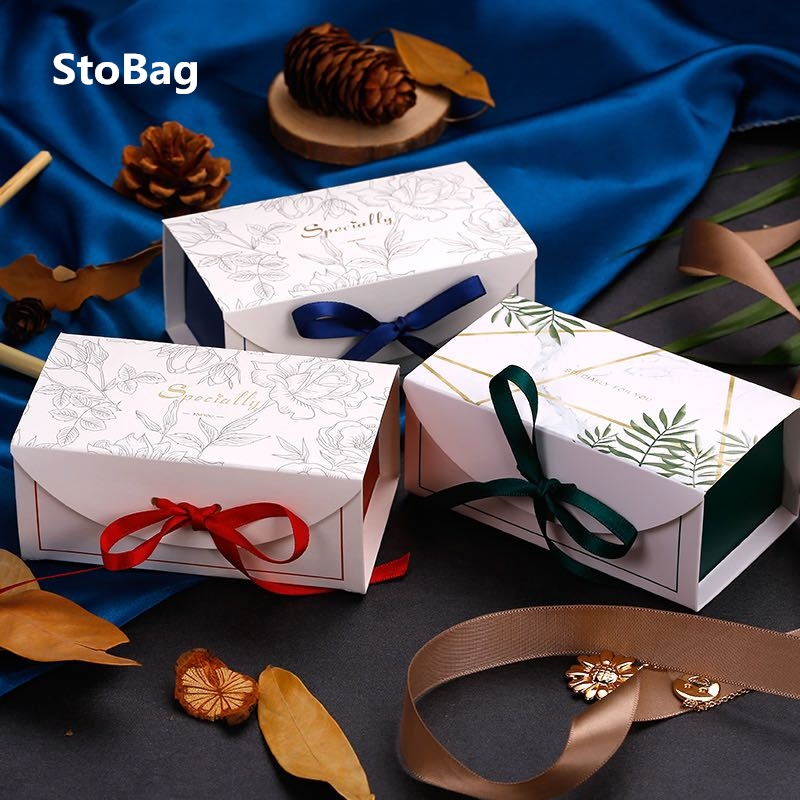 StoBag 20pcs Green/Red/Blue Gift Boxes With Ribbon Wedding Birthday Party Chocolate Candy Packing Support Box Favor