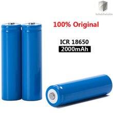 2020 новый оригинальный 18650 3,7 в 2000 мАч перезаряжаемый аккумулятор ICR18650 с заостренным носком (без печатной платы) для фонариков, батареи 18650 Li-ion