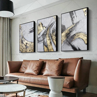 100% Handmade Gold Yellow Gray Abstract Painting Modern Art Picture For Living Room Modern Cuadros Canvas Art High Quality