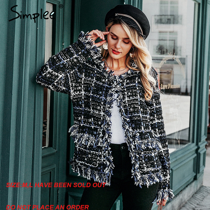 Simplee Winter Plaid Knitted Women Office Cardigan Coat Autumn Female Warm Navy Blend Blazer Vintage Tassel Jacket Outwear Mujer
