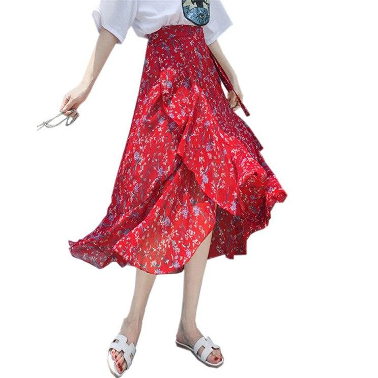 New 2020 Women Chiffon Skirt Summer Flower Elegant Chiffon Ruffle Skirt Plus Size Vintage High Waist Bohemia Beach Skirt M-8XL