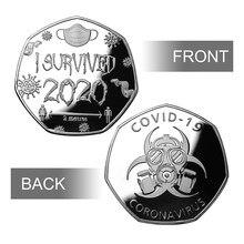 2020 монеты для событий «Я выжила», 2020 монет, узор черепа, памятная монета, медаль для творчества, значок для друзей и семьи, креативные подарки