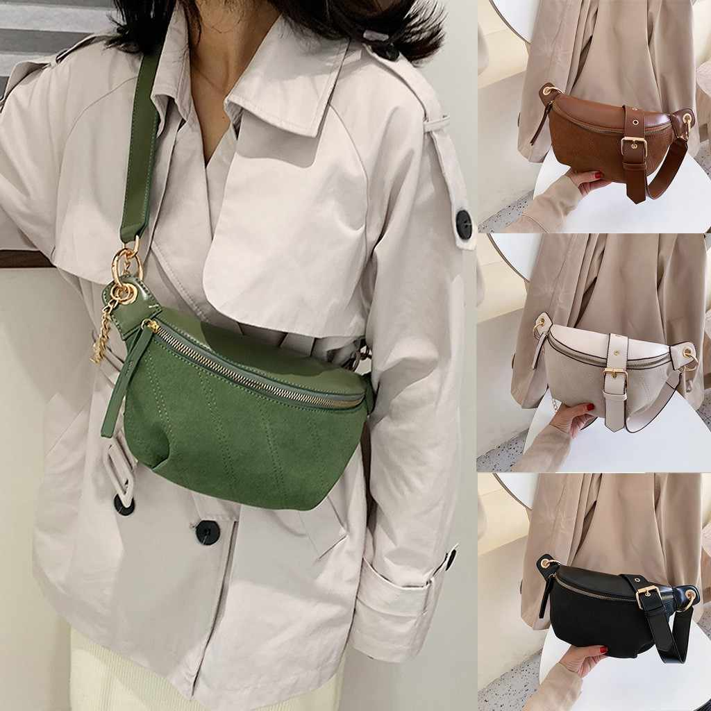 Women Chest Bags Fashion Chain Leather Messenger Bag Versatile Pockets Fashion Shoulder Bag Shoulder Bag  Package Student Bag