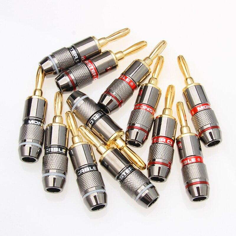 YT 4/8/12PCS Monster Banana Plug 24K Gold Plated Pure Copper Speaker Adapter Screw Speaker Plugs Audio Connectors