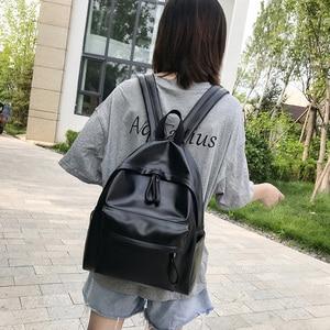 Image 4 - College Leather Backpack Women Multi Pocket Big Travel Backpacks Female School Bag for Teenage Girls Book Mochilas XA503H