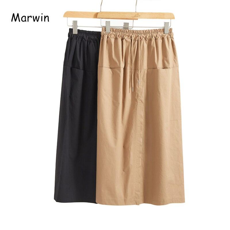 Marwin 2020, Новое поступление, весенние, одноцветные, в стиле ампир, до середины икры, необычные, в уличном стиле, женские юбки, мягкий хлопок, мод...