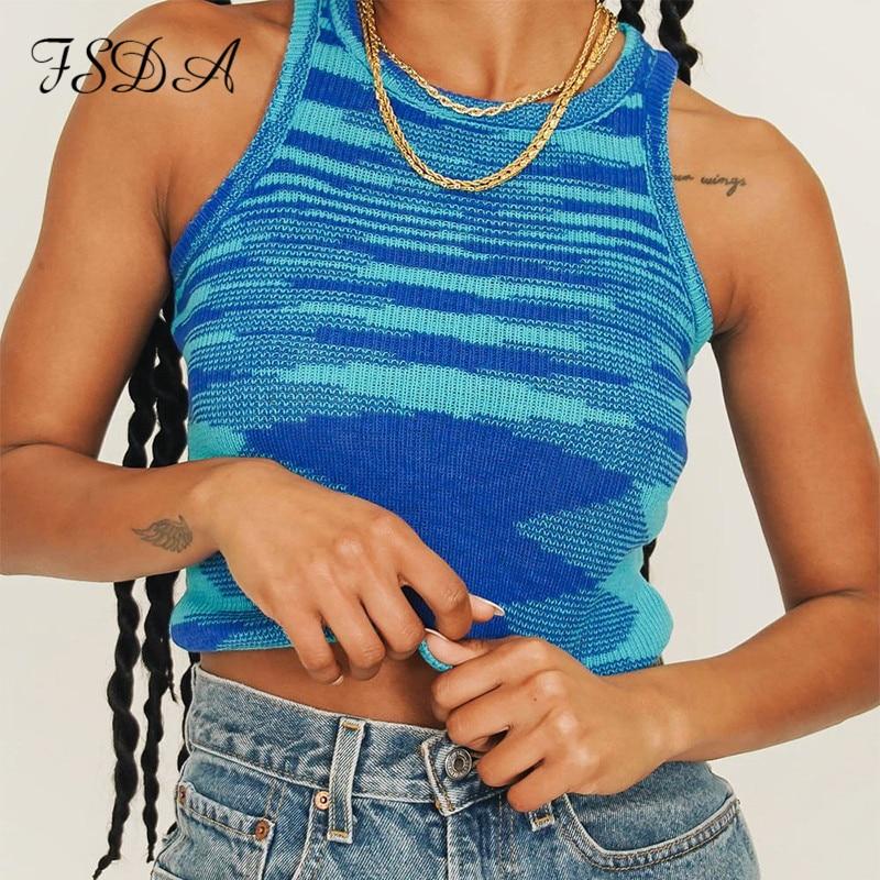 Fsda 2021 Knit Crop Top Vrouwen Mouwloze Y2K Basic T Shirts Casual Zomer Off Shoulder Blauw O Hals Tank Top vintage Mode