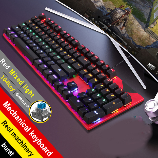 Gaming Mechanical Keyboard With LED Backlight USB Wired Laptop Manipulator Luminous Blue Swich for PC Laptop 2