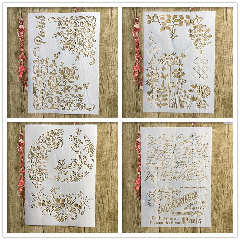 4Pcs / Lot A4 Floral French Word DIY Layered  Stencil Painting Scrapbook Coloring Embossed Album Decorative Paper Card Template
