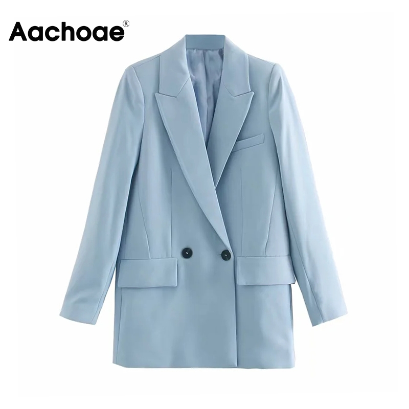 Aachoae Blue Office Wear Suit Blazer Women Double Breasted Long Sleeve Coat Notched Collar Solid Pockets Casual Outwear Jacket