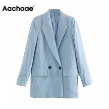 Aachoae Blue Office Wear Suit Blazer Women Double Breasted L