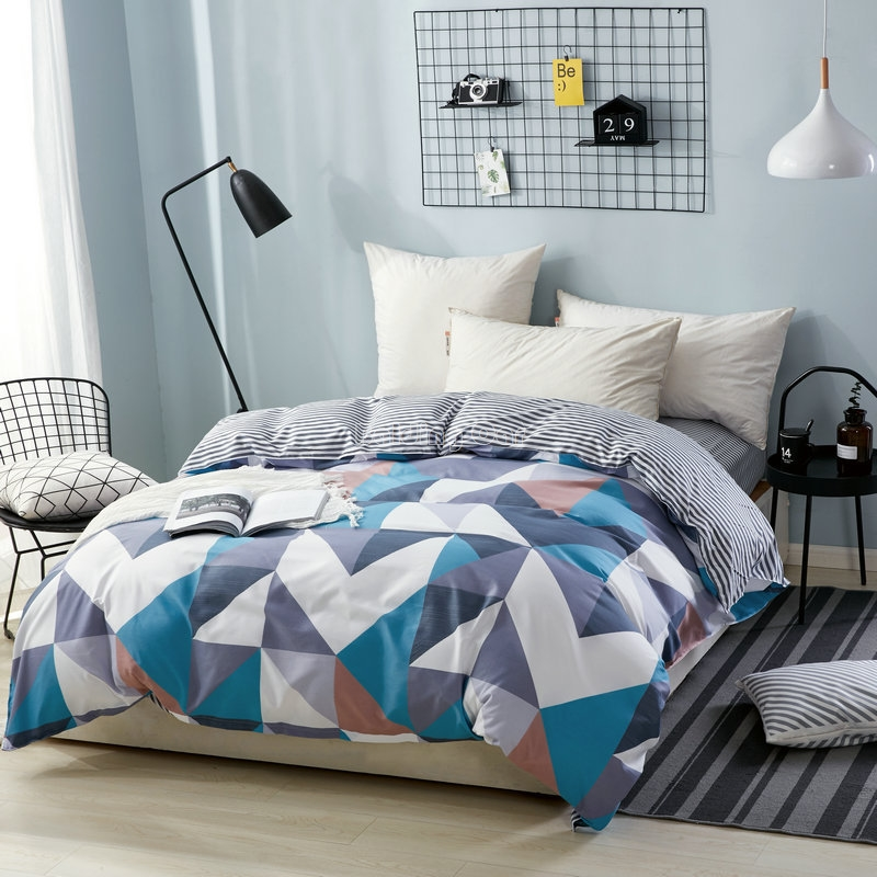 Triangle Geometry Duvet Cover Plaid Striped Quilt Cover Skin Care Cotton Bedclothes with Zipper Twin Full Queen King Bedclothes Duvet Cover     - title=