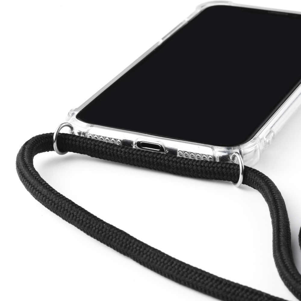 สำหรับ iPhone 11 กรณีสร้อยคอไหล่เชือกสายไฟ CLEAR Soft TPU สำหรับ iPhone XR 11 PRO MAX XS MAX X 7 8 6 S PLUS