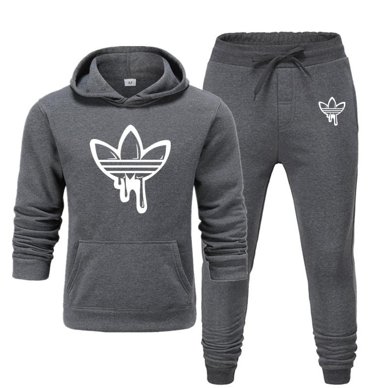 2019 Winter Brand Thermal Sportswear Sets Fleece Thick Tracksuit Sweatshirts Men's Suit Hoodie + Pants Suits  Hombre