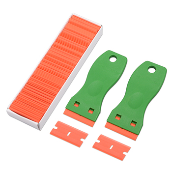 EHDIS 2pcs Glue Sticker Remover Cleaning Razor Scraper+100pcs Plastic Blade Carbon Fiber Vinyl Wrap Film Window Clean Squeegee foshio 100pcs 1 5 razor blade 2pcs glass ceramic clean scraper window tint tool vinyl car wrap film sticker remover squeegee