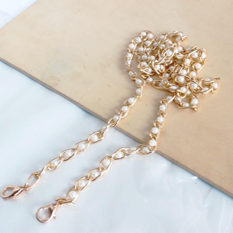 1Pc 120cm Detachable Chain Shoulder Strap Pearl Beads Handbag Chain Handle For Bag Parts Accessories Chain Strap Bag Accessories