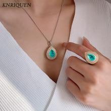 Retro paraiba esmeralda quartzo pedra preciosa anel pingente colar para mulher 925 prata esterlina cocktail festa luxo conjunto de jóias presente