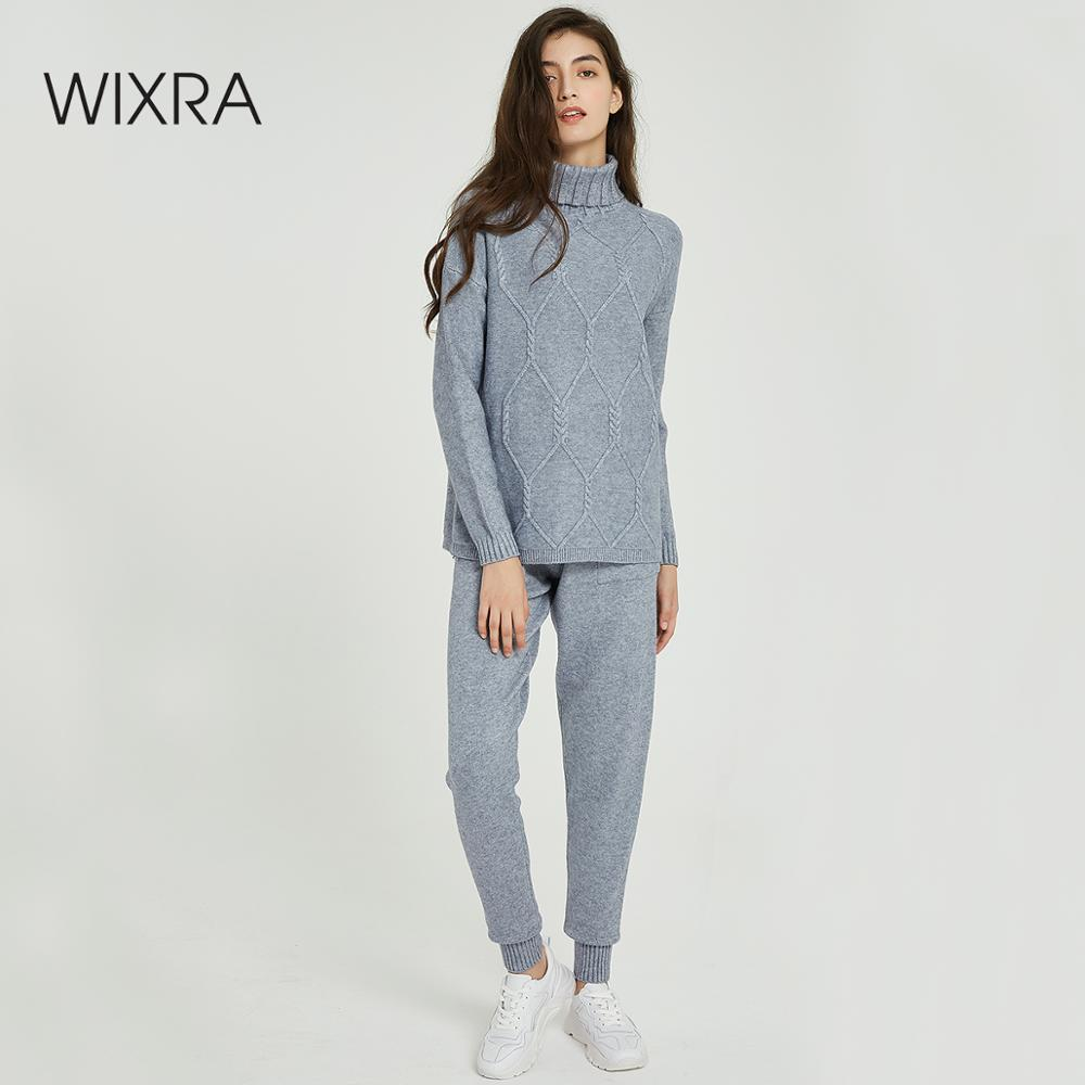 Wixra Women Sweater Sets Turtleneck Casual Geometric Jumpers Tops+Knit Long Pants 2 Pieces Sets 2019 Autumn Winter