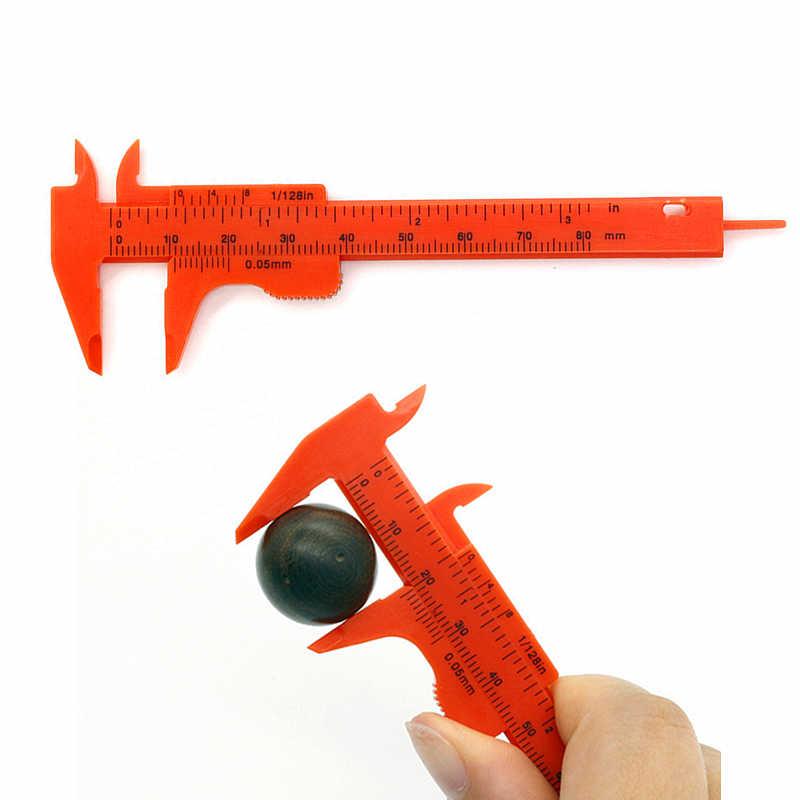 0-80mm çift kural ölçekli plastik sürmeli kaliper ölçme öğrenci Mini aracı cetvel