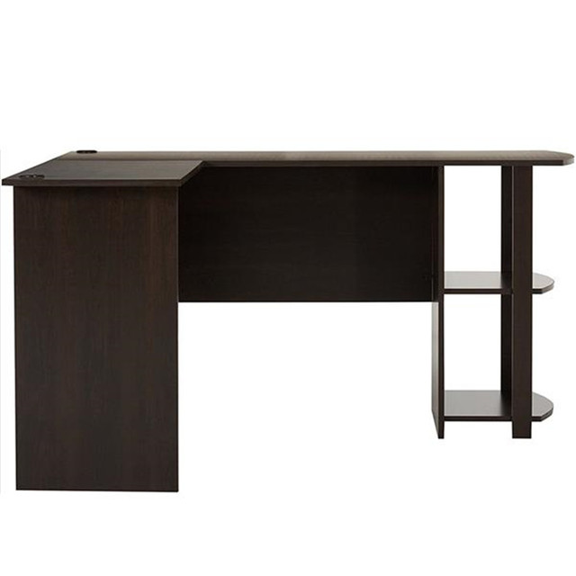L-Shaped Wood Computer Desk w/ Two-layer Bookshelves  3