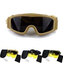 Lunettes de soleil militaires hommes lunettes tactiques armée Paintball Airsoft lunettes Windprrof tir chasse Protection lunettes avec 3 Len