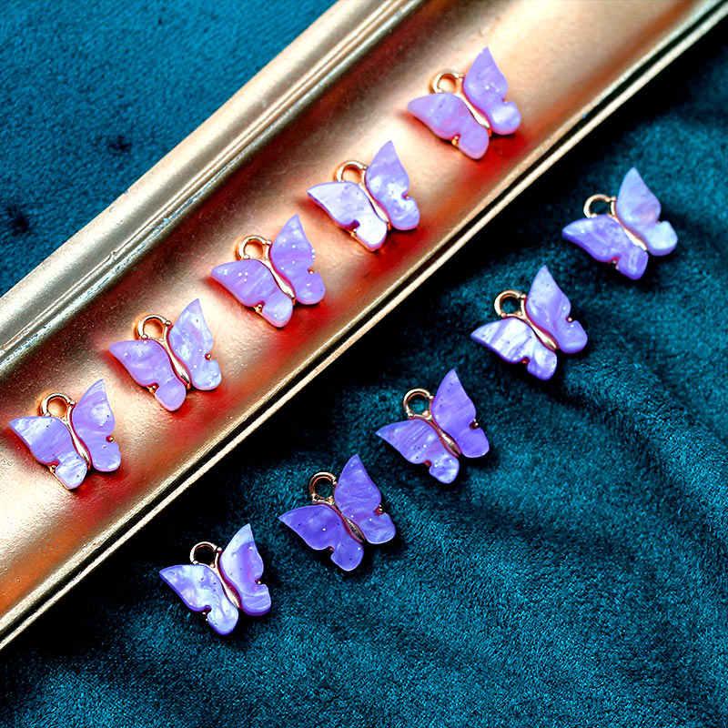 Flatfoosie 10 قطعة/المجموعة أزياء لطيف فراشة مجوهرات اكسسوارات الذهب الفضة اللون سحر مجوهرات DIY أقراط القلائد المواد