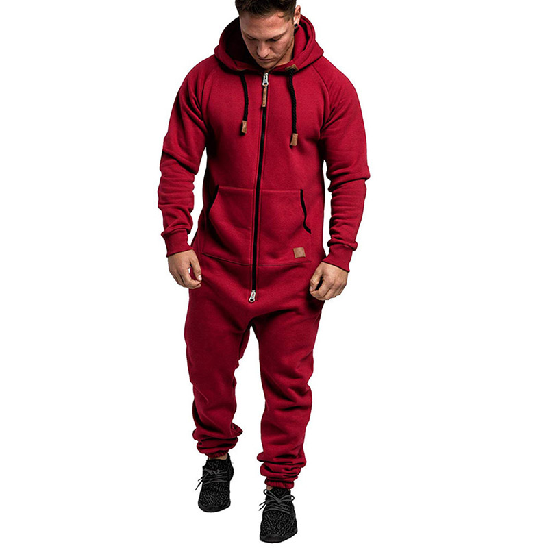 Warm Fashion Jumpsuit Men Zipper Black Fitness Jumpsuit Work Overalls Trendy Winter Tracksuits Men Set Fleece One Piece Clothes