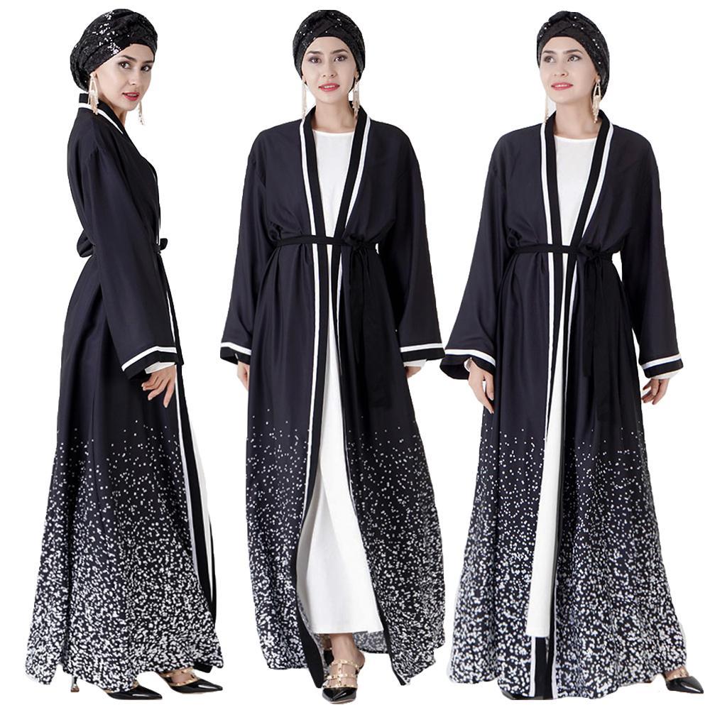 Open Abaya Dubai Kimono Kaftan Turkish Long Cardigan Women Muslim Maxi Dress Islamic Clothing Arab Robe Party Gown Ramadan EID