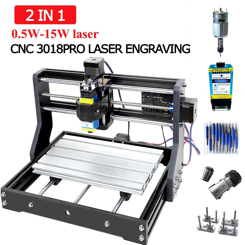 CNC 3018 Pro Laser Engraving Machine 3 Axis Milling DIY Laser Engraver For Sculpture Wood Support Offline 0.5W-15W Laser Cutter