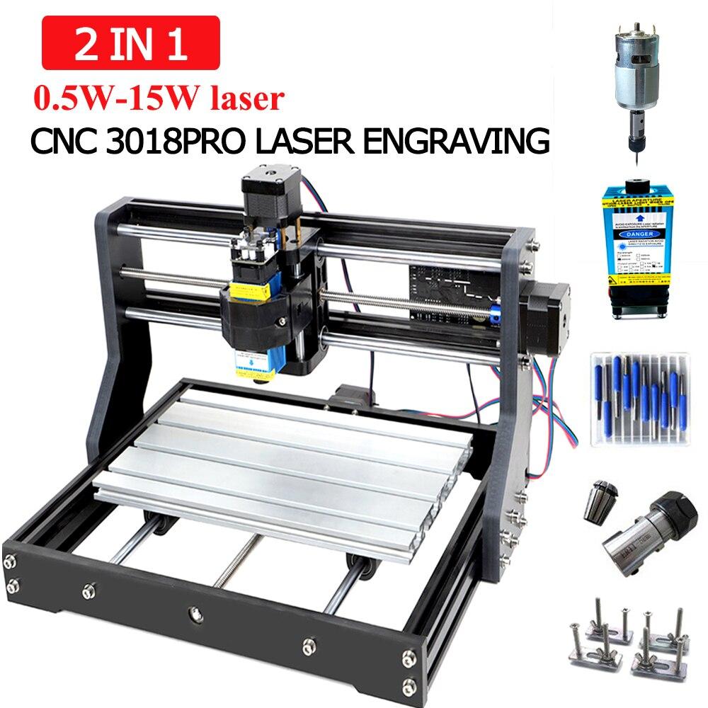 CNC 3018 Pro máquina de grabado láser 3 ejes de fresado DIY grabador láser para escultura de madera soporte fuera de línea 0,5 W-15 W cortador láser