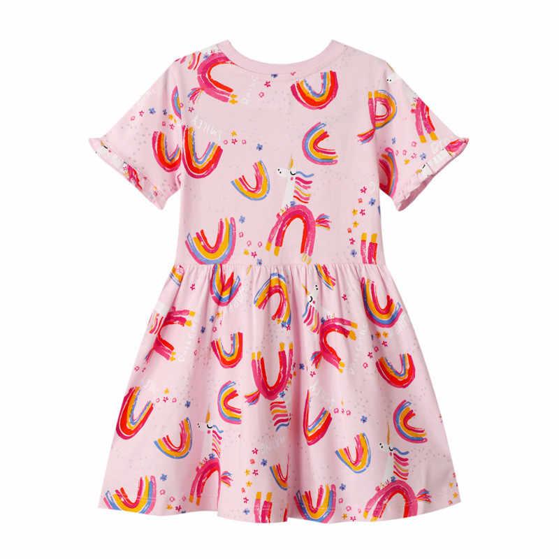 קפיצות מטרים למעלה חדש לגמרי קשת נסיכת בנות שמלות 100% כותנה קיץ ילדי בגדי אופנה טוניקת ילדים מפלגה שמלה