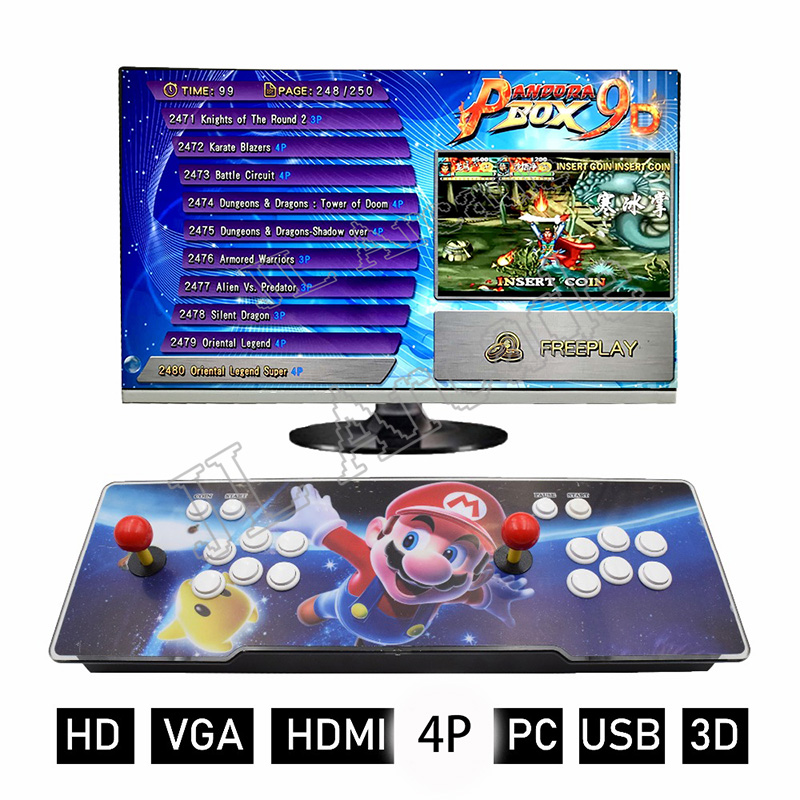 Pandora's Box 9D 2500 Arcade Game Console For TV PC PS3 Monitor Support 3p,4p Game With Pause Pandora Video Arcade Machine