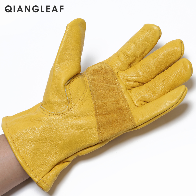 Image 3 - QIANGLEAF Brand New Men's Work Gloves Cowhide GlovesLeather Security Protection Wear Men Safety Driver Working Welding Glove H93-in Safety Gloves from Security & Protection