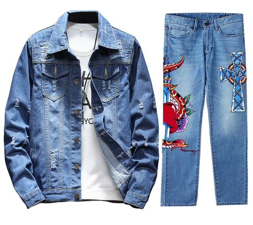 Men's Retro Destroyed Coat Jean Denim Jacket Outerwear Pants Trousers Set CROSS Coat Blue 2PC