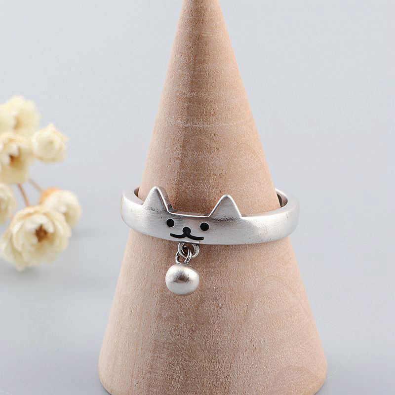 V.YA 925 เงินสเตอร์ลิงแหวนแมวน่ารักออกแบบลูกปัดแหวนปรับขนาดแหวนแฟชั่นเครื่องประดับ