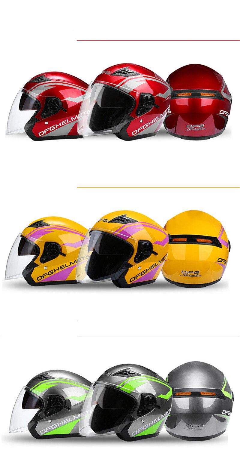 H-O Cascos de Moto Casco de Bicicleta el/éctrica Cara Abierta Visores de Doble Lente Hombres Mujeres Scooter de Verano Moto Moto Casco de Bicicleta,A,M