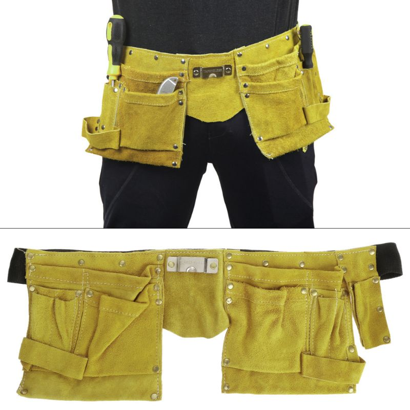 Electrician Waist Tools Bag  Belt Pouch Screwdriver Repair Tools Split Leather Holders Organizer Yellow Color F5H6