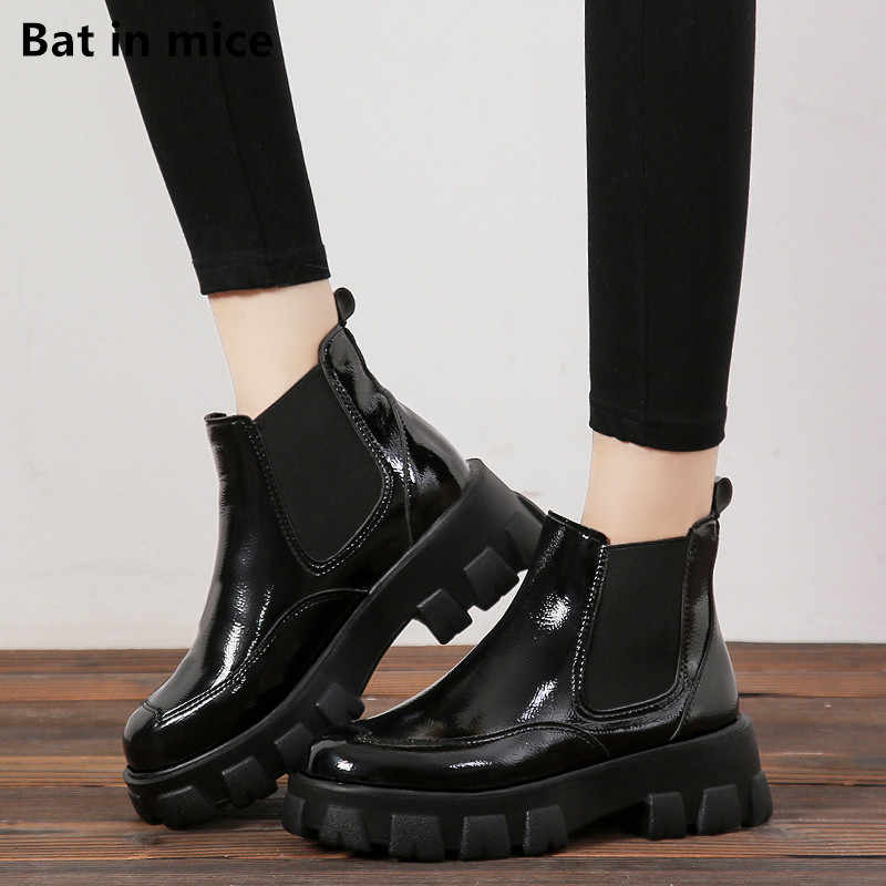 women ankle Martin Boots women shoes pu Leather Casual Slip on pumps dress Winter warm Chelsea snow boots women botas Mujer T383