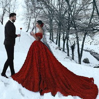 2020 Red Wedding Dresses with 3D Rose Flowers Cathedral Train Arabic Middle East Church Off Shoulder Backless Wedding Gowns