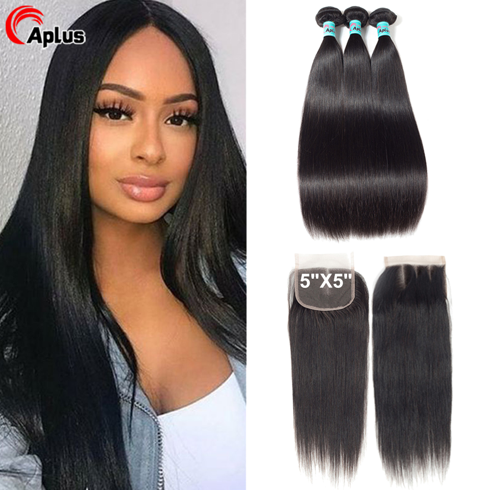 Aplus Hair Straight Peruvian Hair Bundles With Closure 100% Human Hair Weave 3 Bundles With 5*5 Swiss Lace Closure Remy Natural