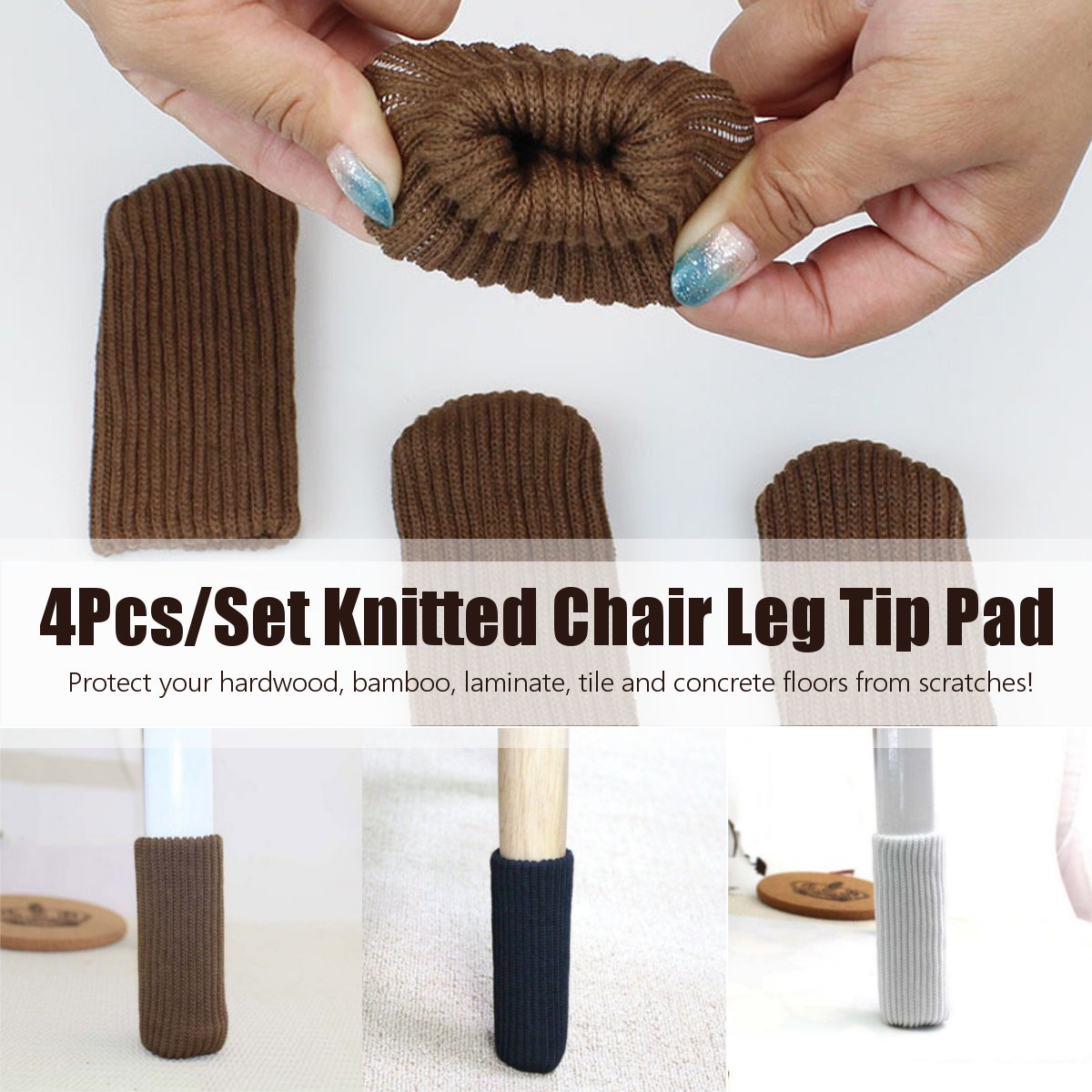 Non-Slip 4PCS Chair Leg Tip Pad Cover Furniture Elastic Sock Floor Protector 3 Colors Table Chair Feet Furniture Accessories