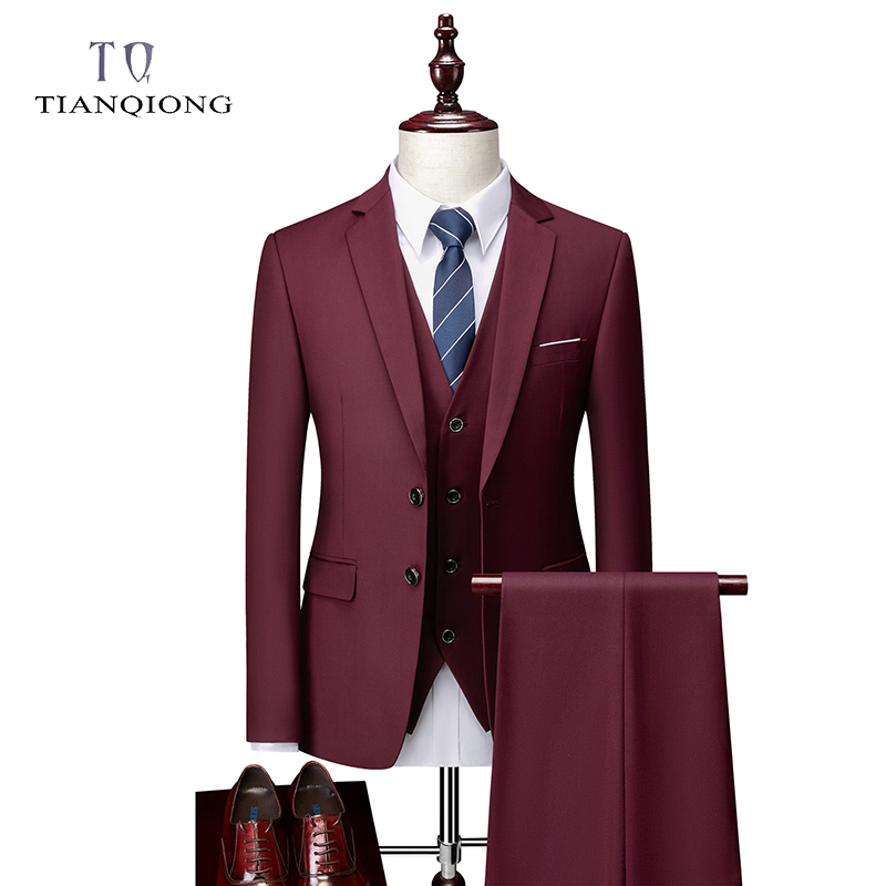 Men Suit 2020 Spring And Autumn High Quality Custom Business Suit Three-piece Slim Large Size Multi-color Suit Two-button Suit