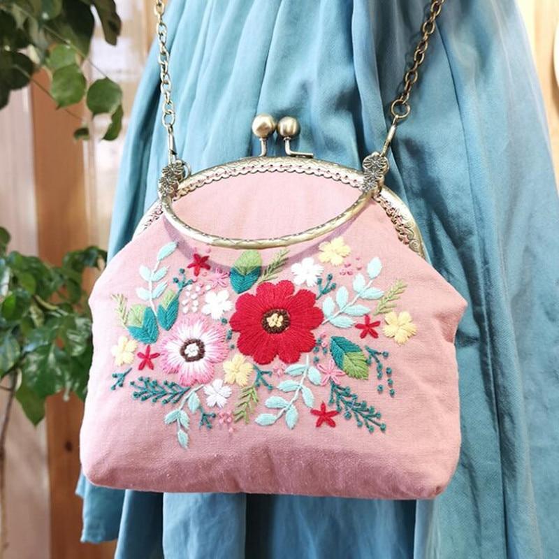 16.5cm 3d bordado flores ponto cruz kit diy artesanato agulha artes saco portátil mensageiro saco