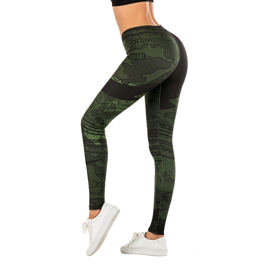 Fashion Woman Pants Sexy Women Legging Line Green Graffiti Printing Fitness Leggins Slim Legins Soft And Stretchy Leggings