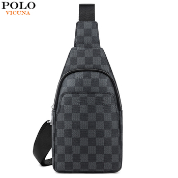 VICUNA POLO Famous Brand Men Cross Body Bag Plaid Men Travel Chest Bags Fashion Sling Messenger Shoulder Bags men bag genuine leather chest bag famous brand chest shoulder messenger bags casual vintage sling back pack of the