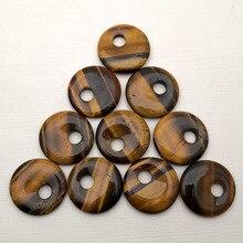Tiger Eye 30 Mm Natuursteen Kralen Voor Sieraden Maken Charm Ketting Oorbellen Donut Accessoires Goede Kwaliteit 10 Pc Groothandel