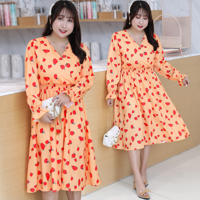 [Xuan Chen] Fat Mm French Platycodon Grandiflorum Skirt Floral Dress Autumn New Style Plus-sized Elegant Skirt On Behalf Of Q006
