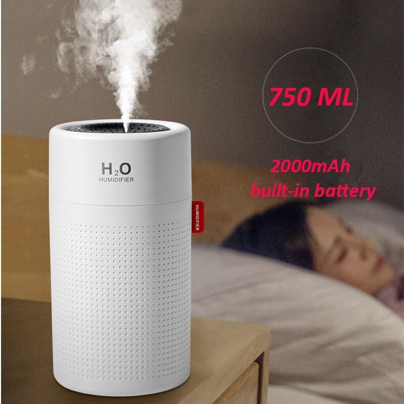 Увлажнитель воздуха большой емкости 750 мл, 2000 мА · ч, USB Перезаряжаемый Беспроводной ультразвуковой ароматический распылитель для воды|Увлажнители воздуха|   | АлиЭкспресс