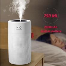 750 Ml Grote Capaciteit Luchtbevochtiger 2000 Mah Usb Oplaadbare Draadloze Ultrasone Aroma Water Mist Diffuser Licht Umidificador