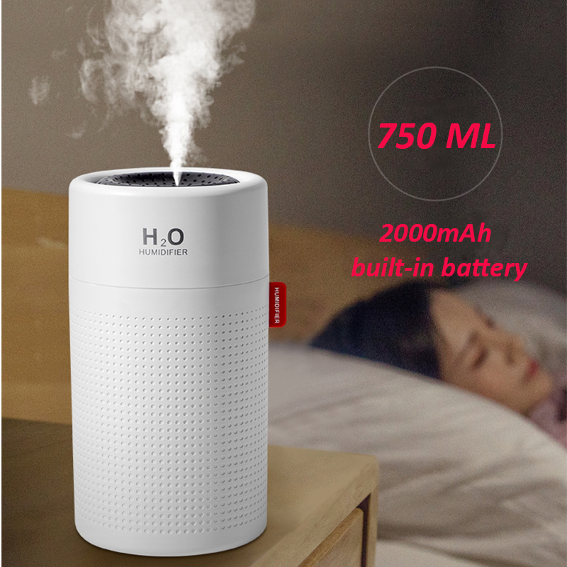 750ml Large Capacity Air Humidifier 2000mAh USB Rechargeable Wireless Ultrasonic Aroma Essential Oil Diffuser Light Umidificador